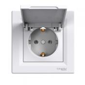 Розетка с крышкой Shneider-Electric Asfora белый ASFORA EPH3100121
