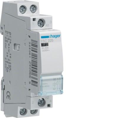 Контактор стандарт (2 Н.О. 25А 230АС 1м) Hager ESC225