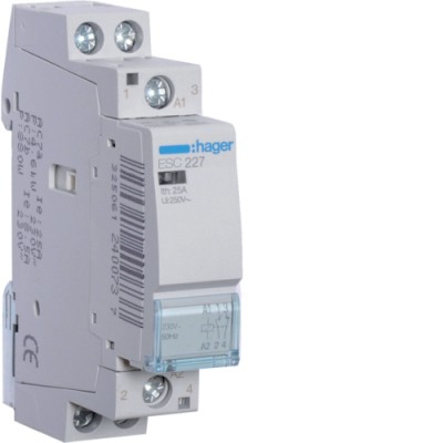 Контактор стандарт (1 Н.О.+1 Н.З. 25А 230АС 1м) Hager ESC227