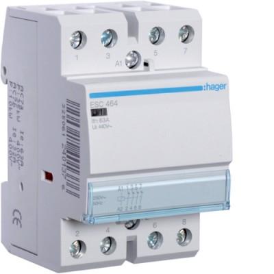 Контактор стандарт (4 Н.З. 63А 230АС 3м) Hager ESC464